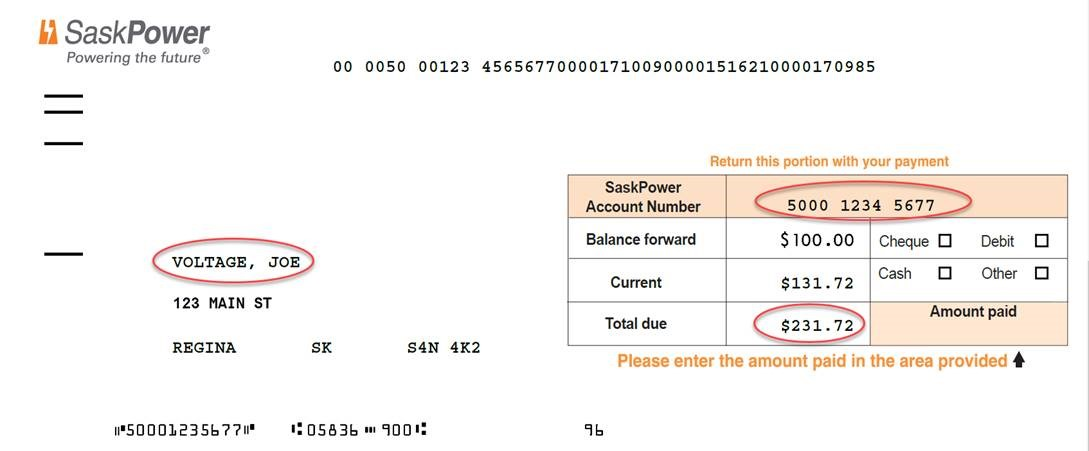 SaskPower Bill Sample