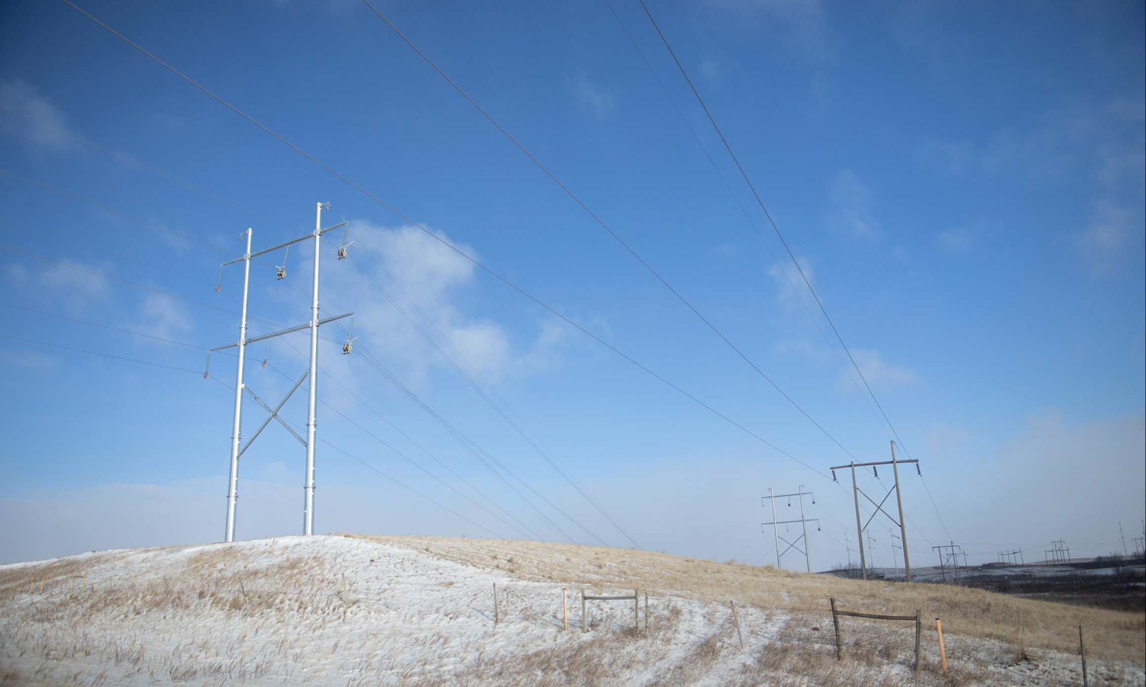 Transmission Lines on a snowy Saskatchewan field
