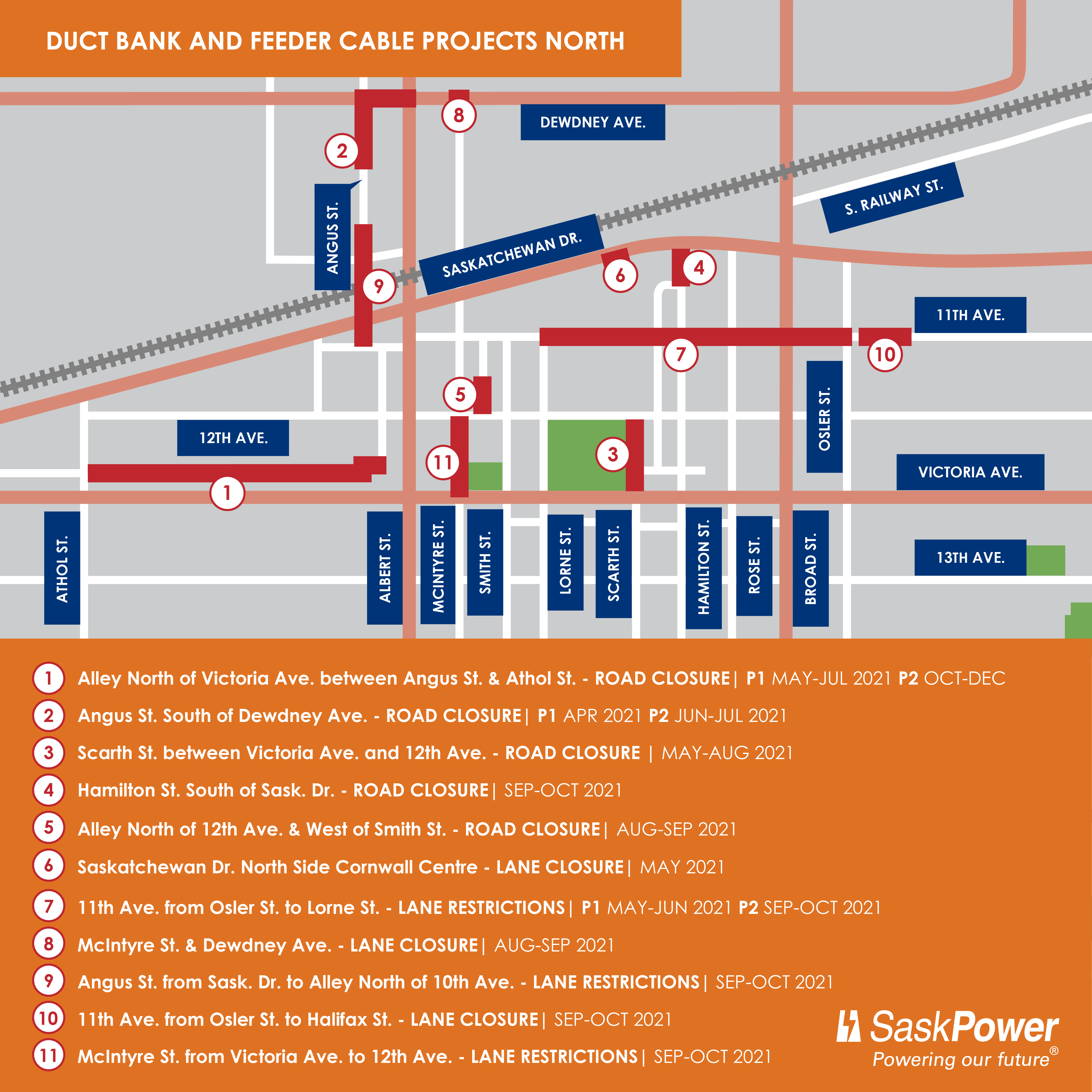 Construction Map Regina Downtown