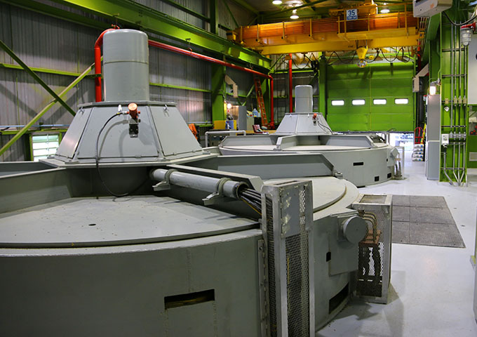Inside hydroelectric station