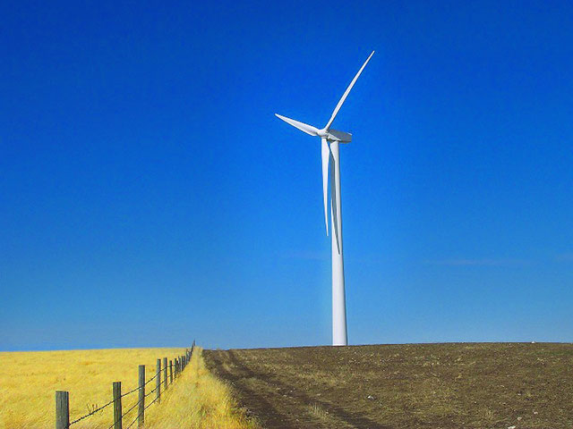 Wind turbine in field