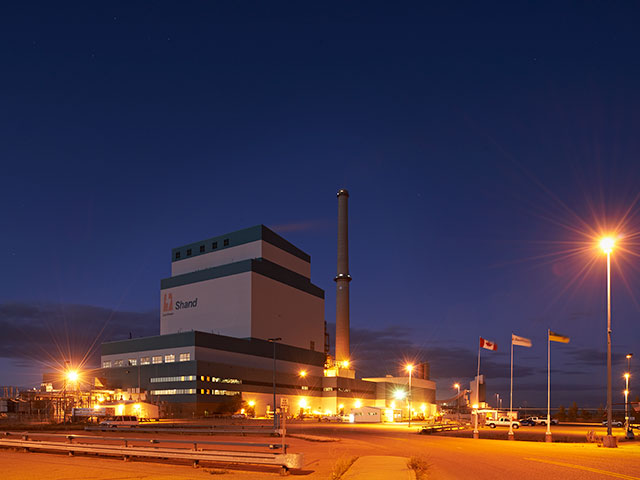 Shand Power Station at night